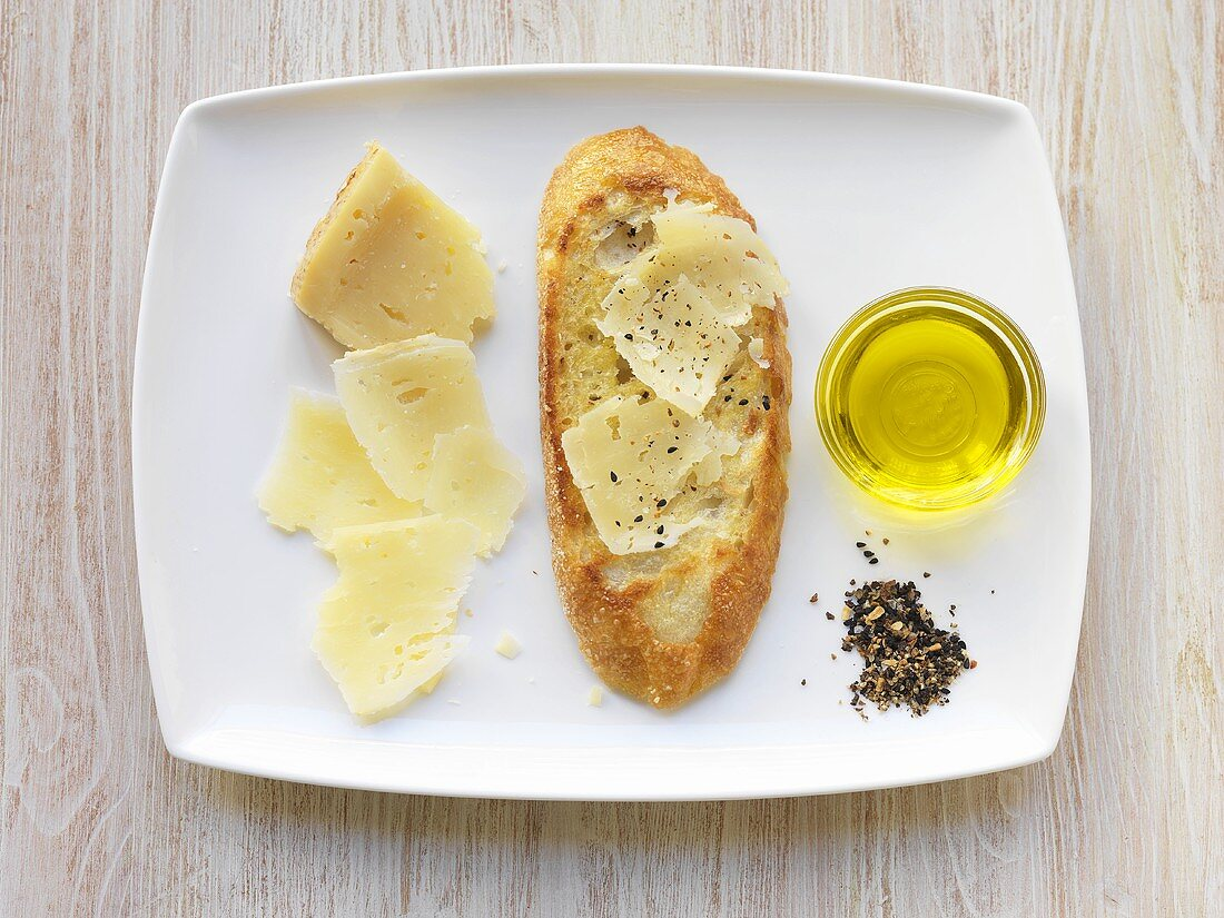 Spanish Cheese, Olive Oil and a Slice of Crusty Bread