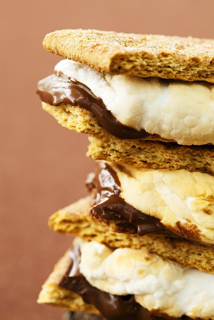 Stack of S'mores; Close Up