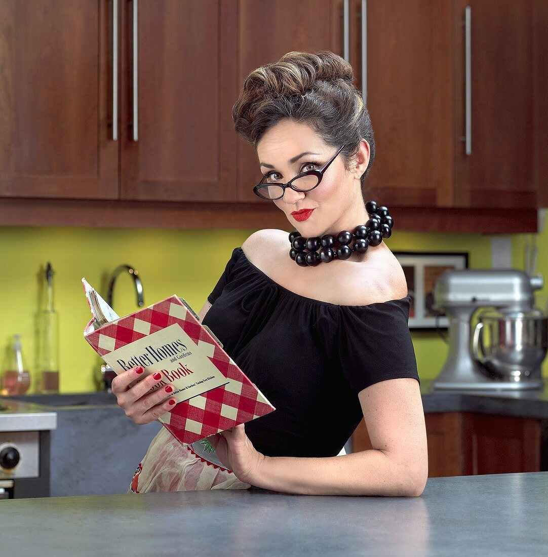 1950's Style in Kitchen with Cookbook