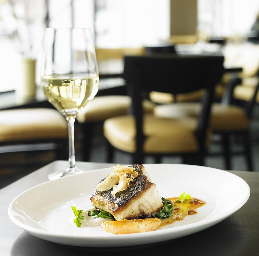 Pan Seared Rockfish with Grapefruit Brulee and Spinach