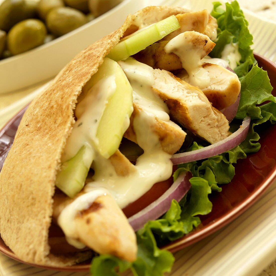 Chicken Pita Sandwich with Cucumber, Red Onion and Ranch Dressing
