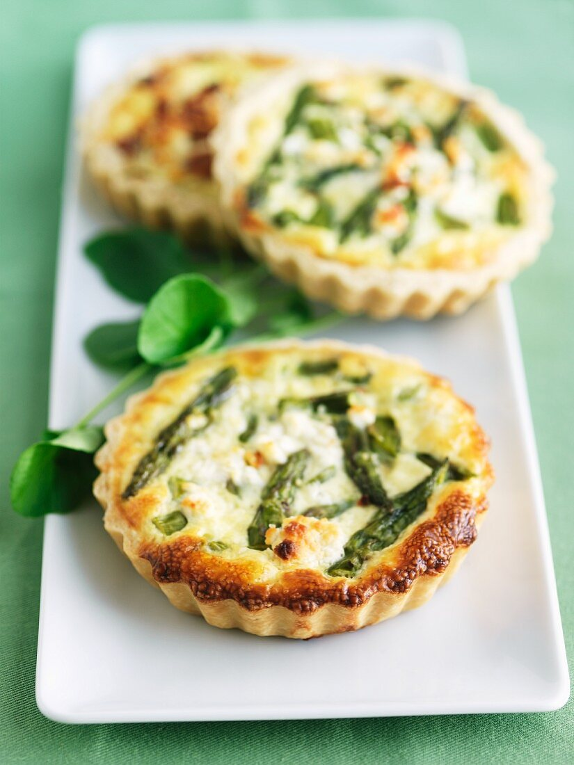 Asparagus Quiches on White Serving Dish