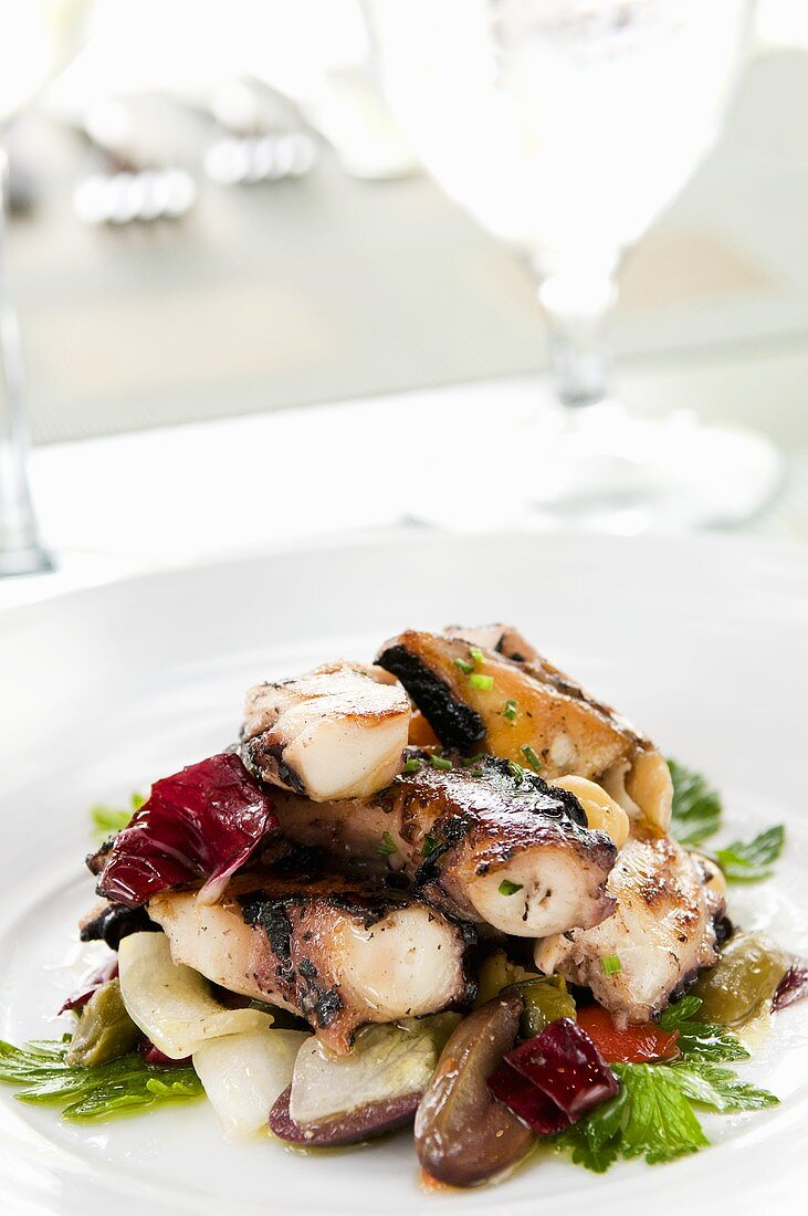 Insalata di polipo (grilled octopus with olives and raddichio)