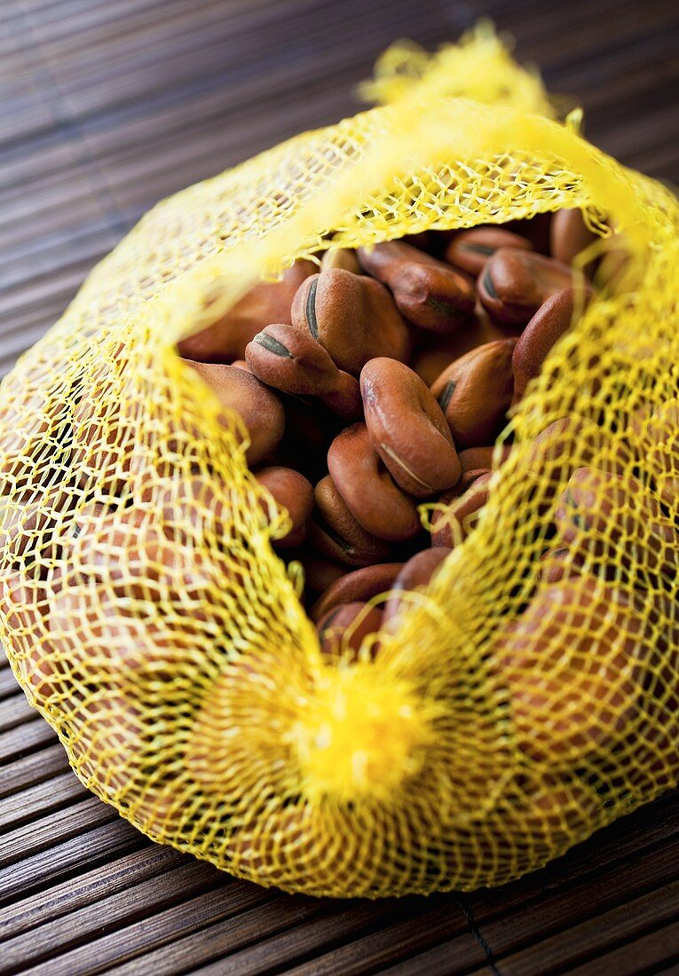Dried Fava Beans in Net Bag