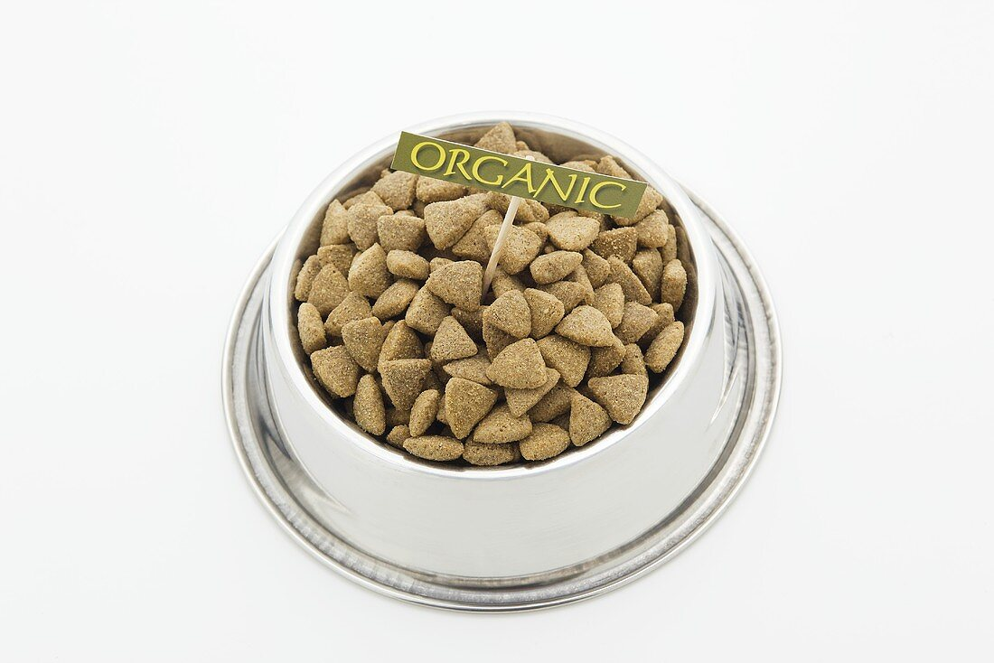 Bowl of Organic Dog Food with Sign