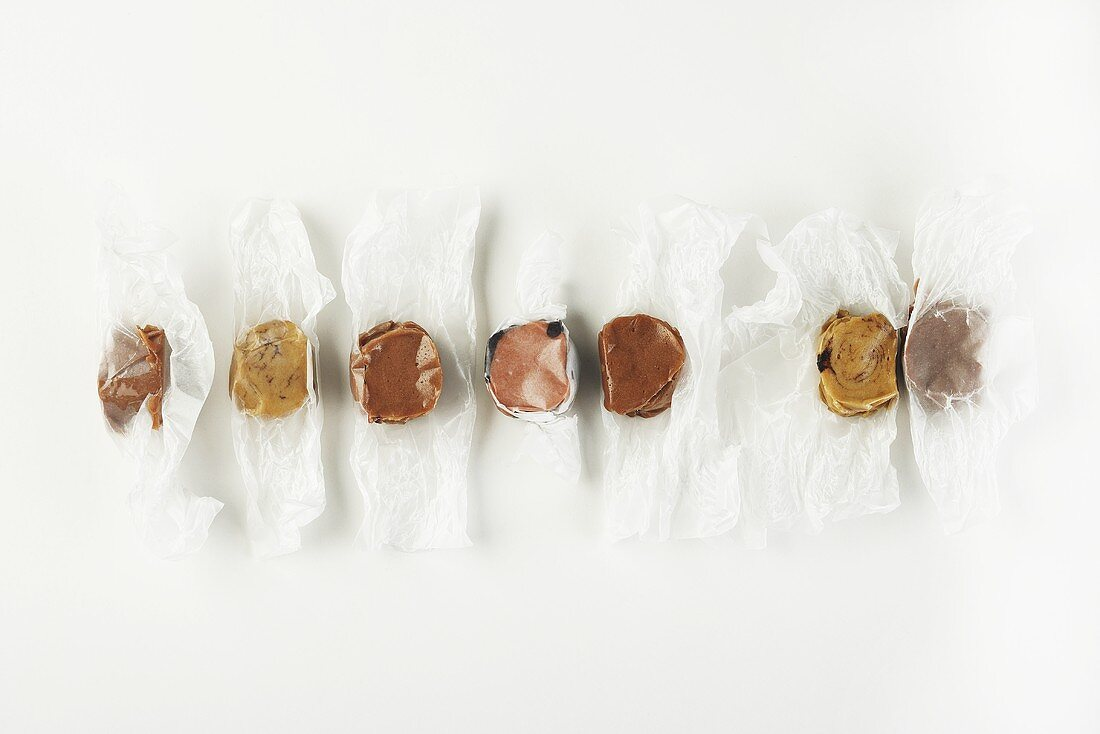 Row of Unwrapped Saltwater Taffy Candies