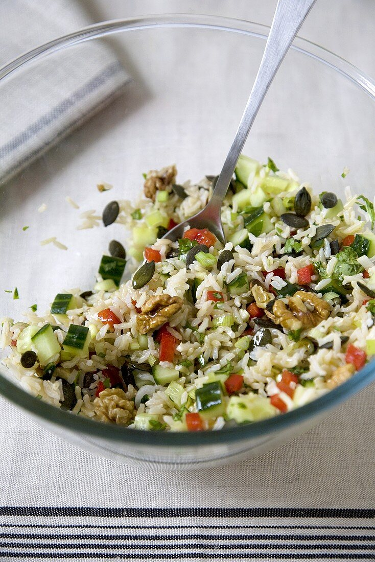 Rice Salad in a Glass Bowl