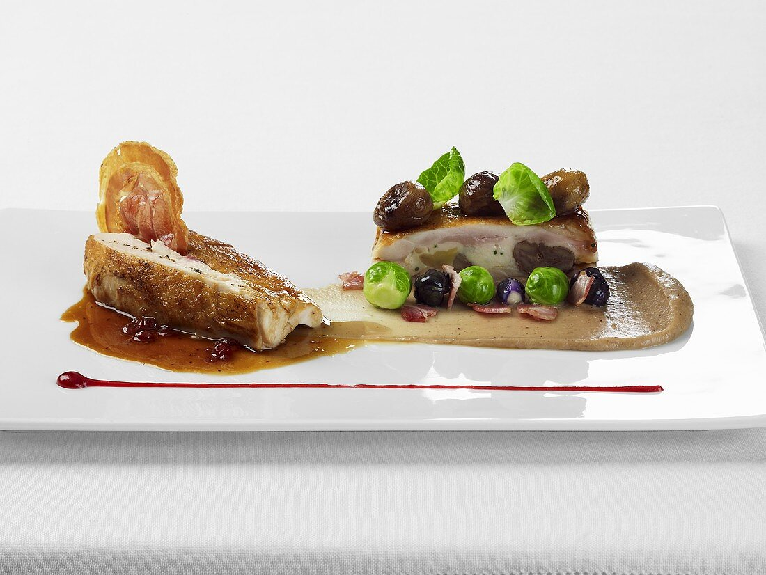 Chicken with pancetta, brussels sprouts, maroni and maroni puree