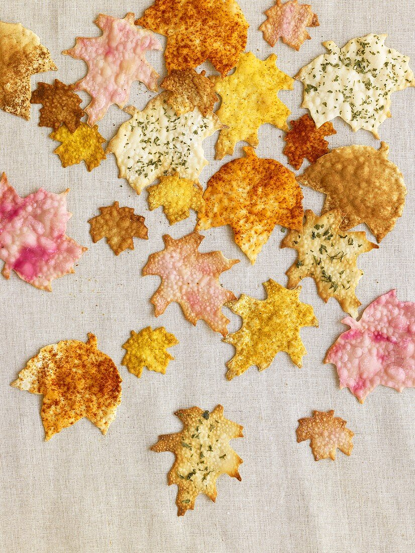 Multi-Colored Leaf Shaped Crackers