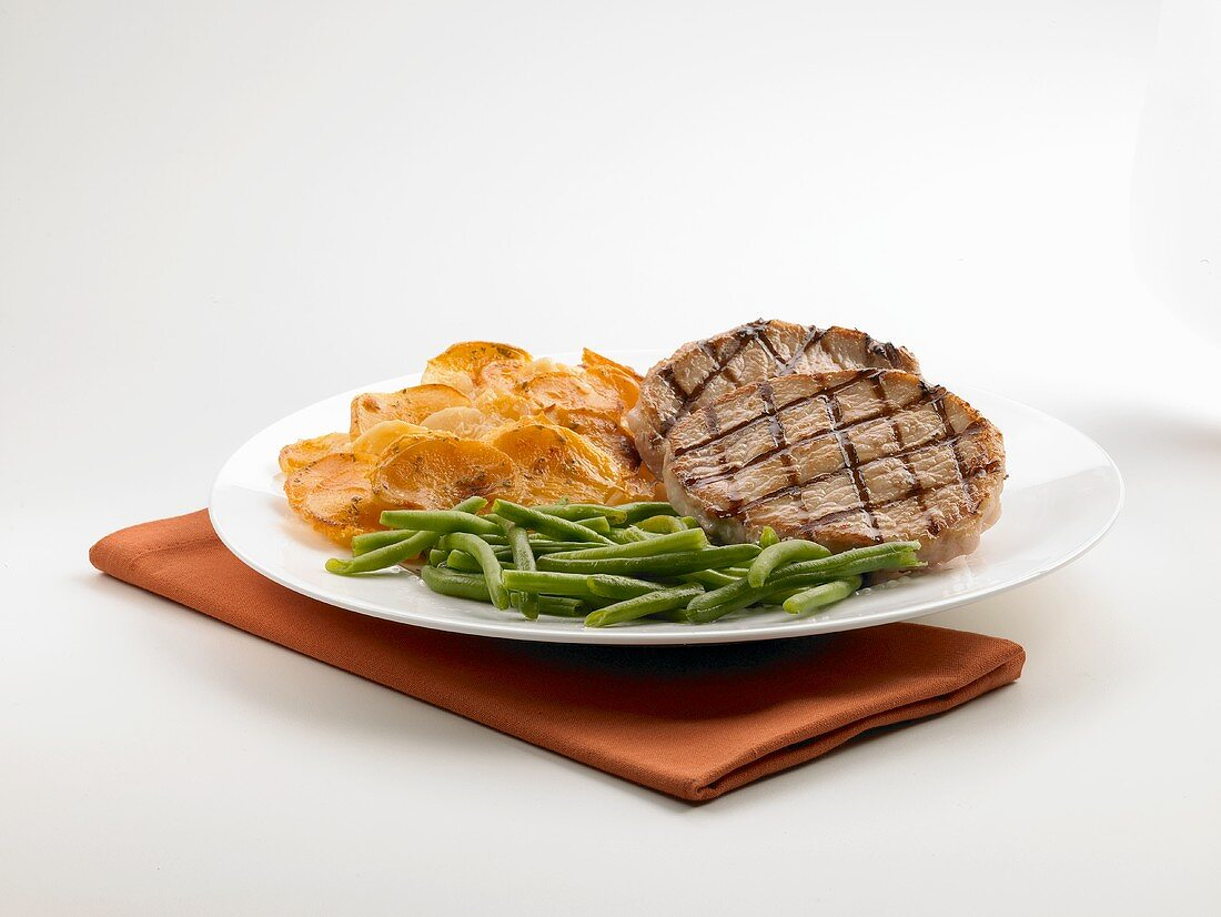 Grilled Boneless Pork Chops with Green Beans and Scalloped Potatoes