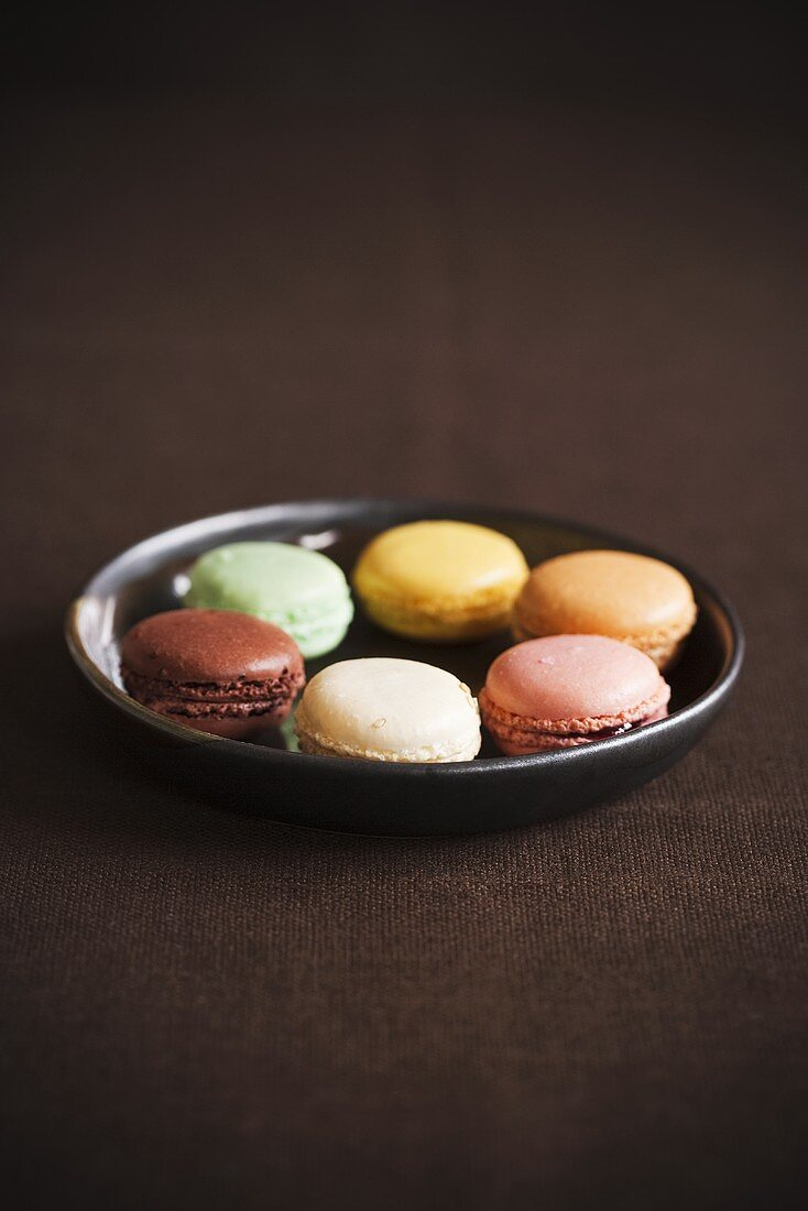 Assorted Colored Macaroons on a Dish