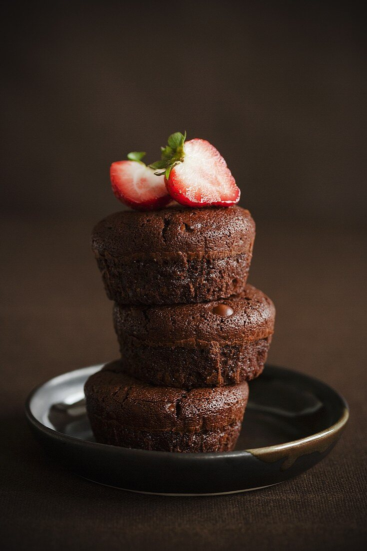 Three Individual Chocolate Cakes; Stacked with Strawberries