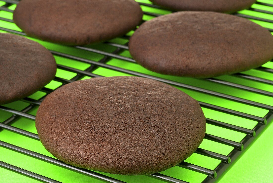 Chocolate Whoopie Pie Shell on Cooling Rack