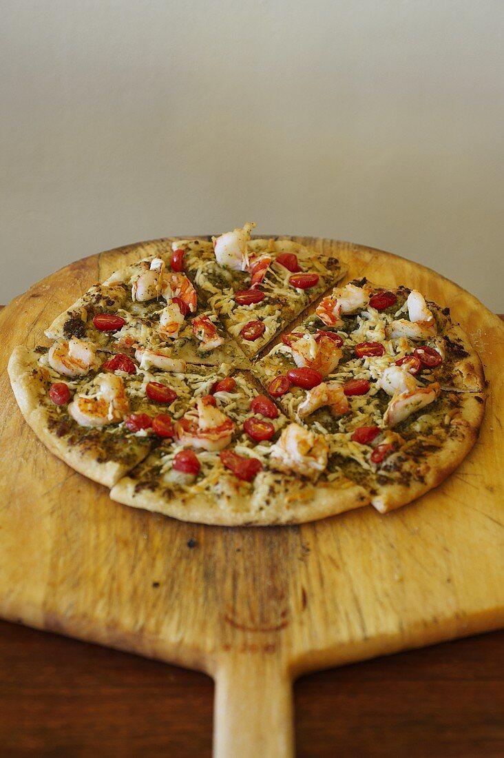 Shrimp and Cherry Tomato Pizza; On Pizza Board