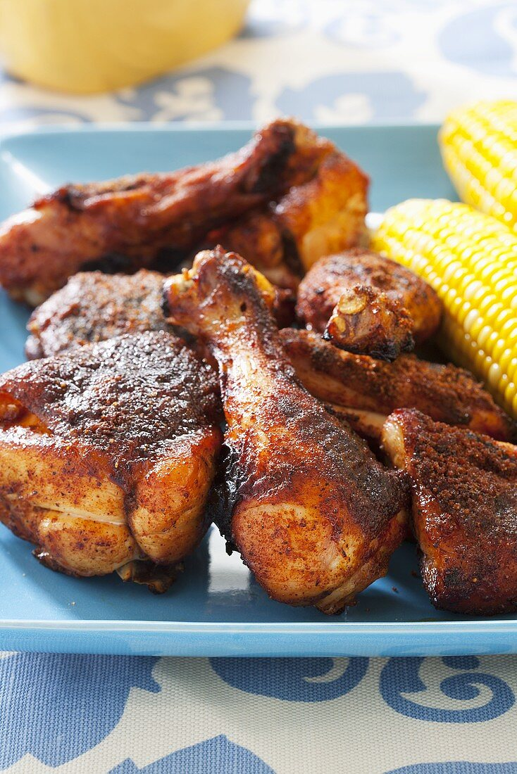 Platter of Dry Rub Barbecue Chicken with Corn on the Cob