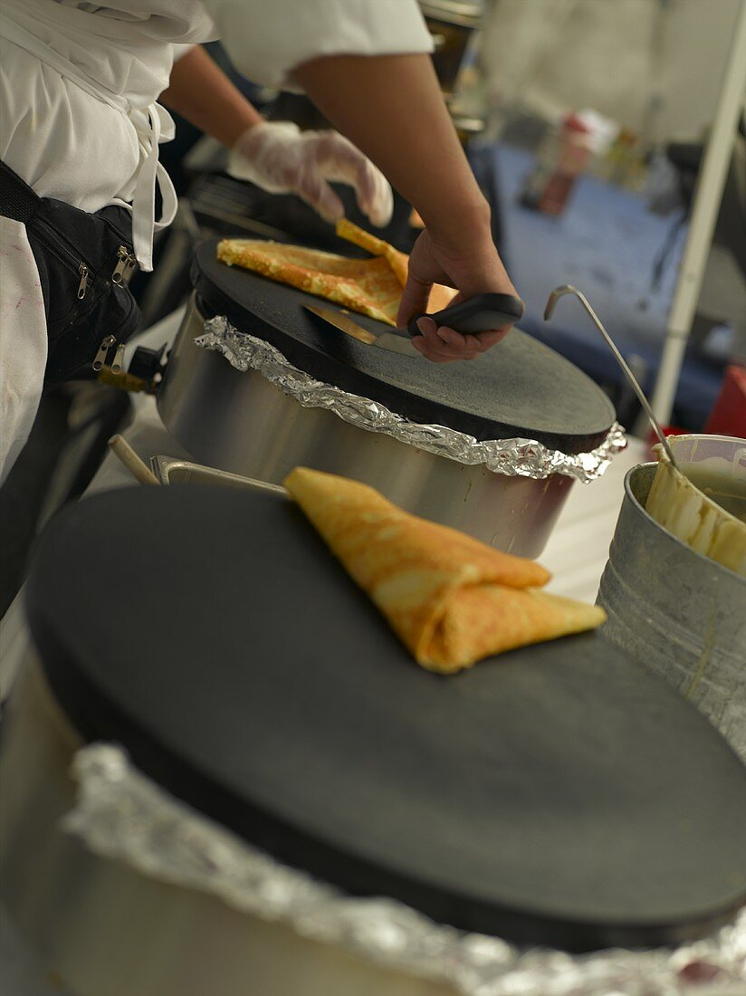 Folded Crepe on the Grill with Cook at Market in Seattle Washington