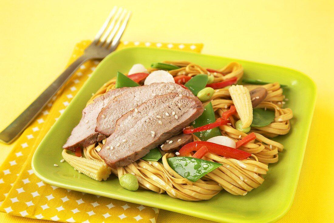 Sliced Pork Over Low Mein Noodles with Vegetables