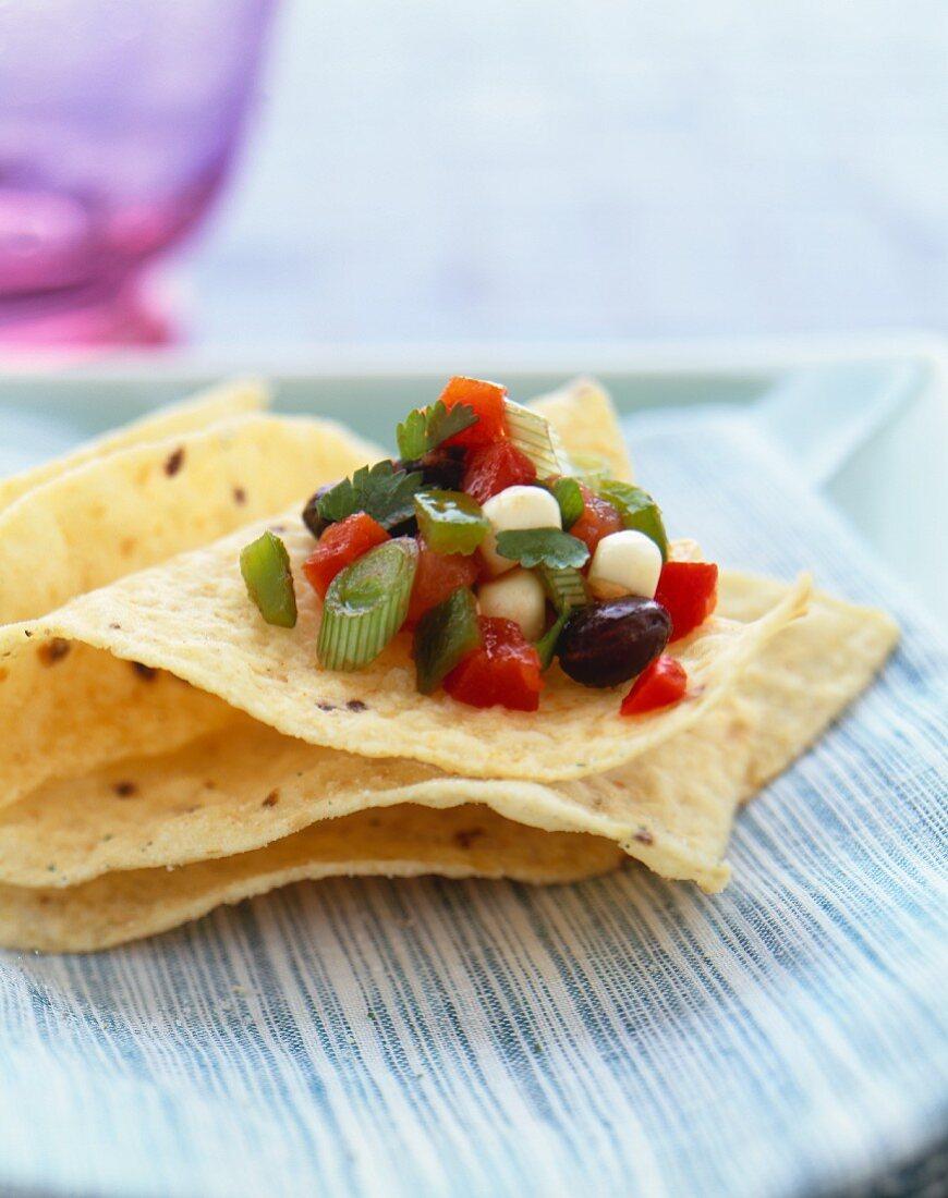 Fresh Black Bean and Corn Salsa on Tortilla Chips