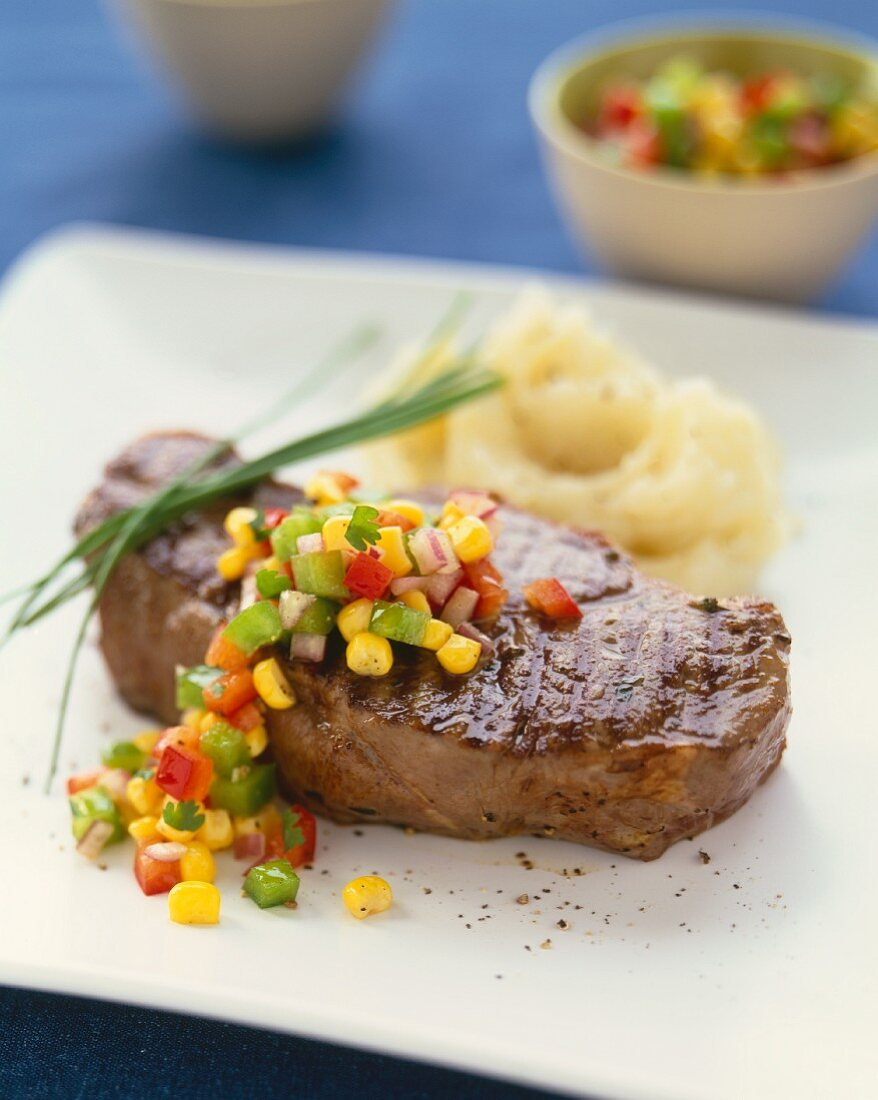 Rib Eye Steak with Corn Salsa and Mashed Potatoes