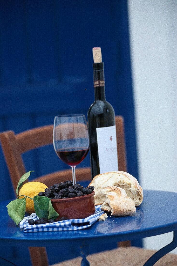 Olives, bread and red wine, Crete, Greece