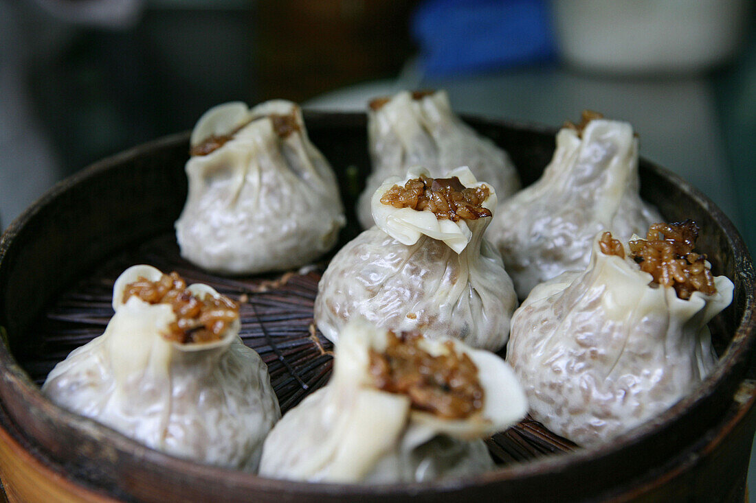 rice dumplings in Bamboo steamer, close-up, China