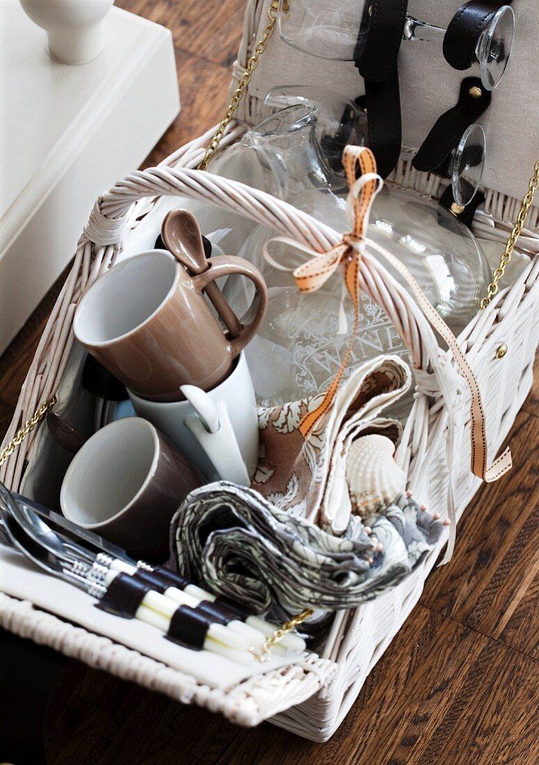 An open picnic basket