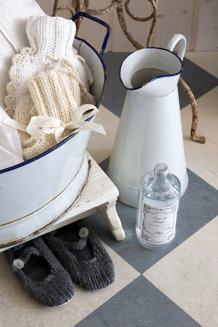 Country style wash basin set on a checker board pattern floor