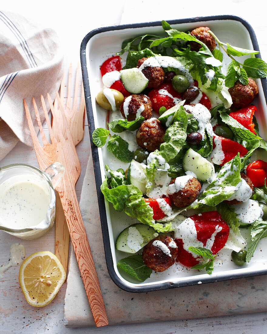 Tray of Greek lamb salad. GreekLambMeatballSalad
