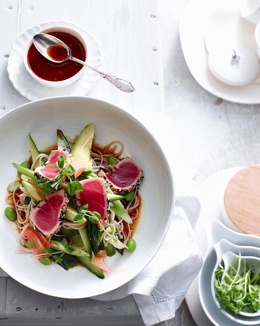 Plate of seared tuna on soba noodles. SearedTunaSobaNoodle