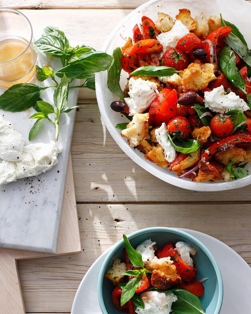 Bowls of panzanella salad. PanzanellaSaladA