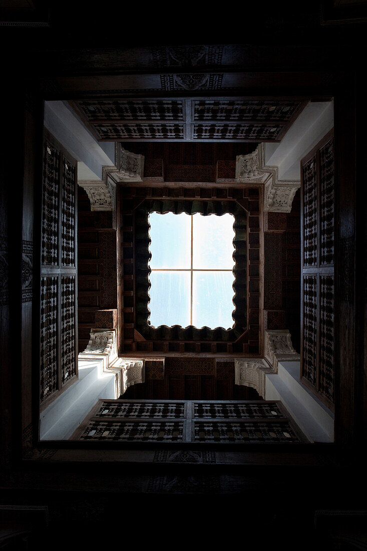 Ceiling in the Ben Youssef  Madrassa, an old Islamic school, Marrakech, Morocco