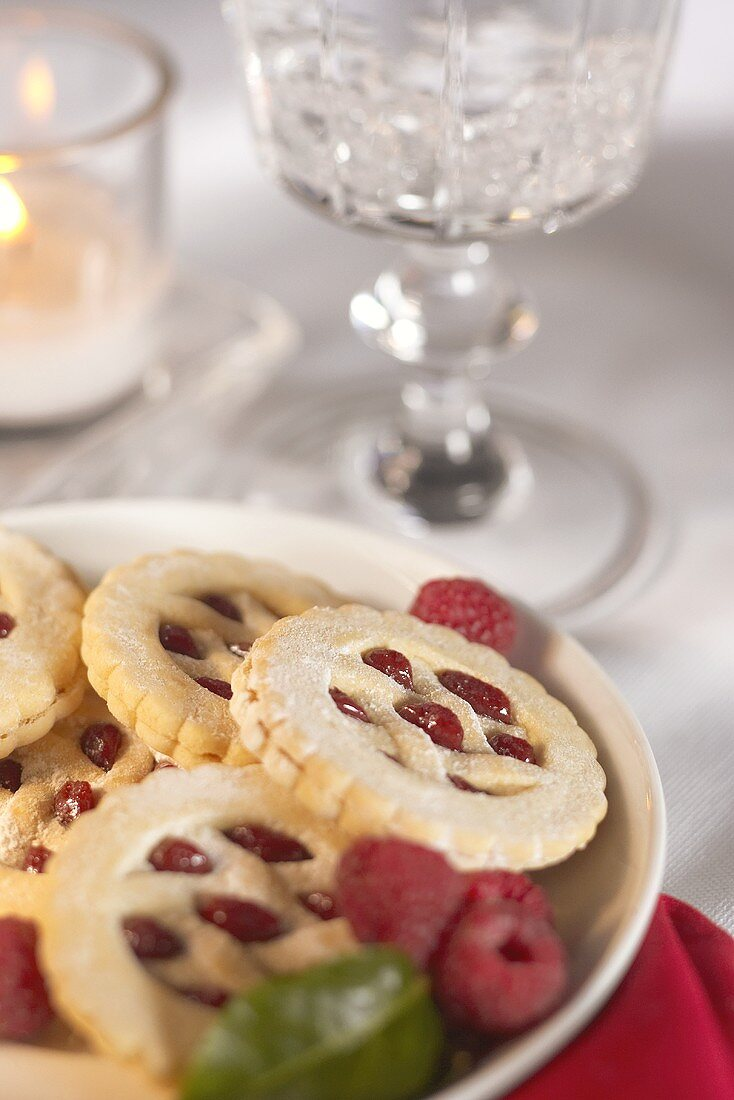 Plate of Jam Filled Cookies