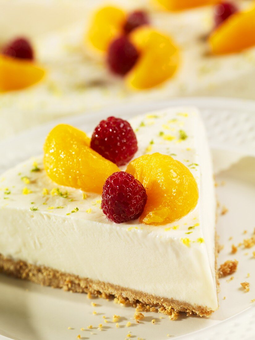Slice of Frozen Key Lime Pie Topped with Mandarin Oranges