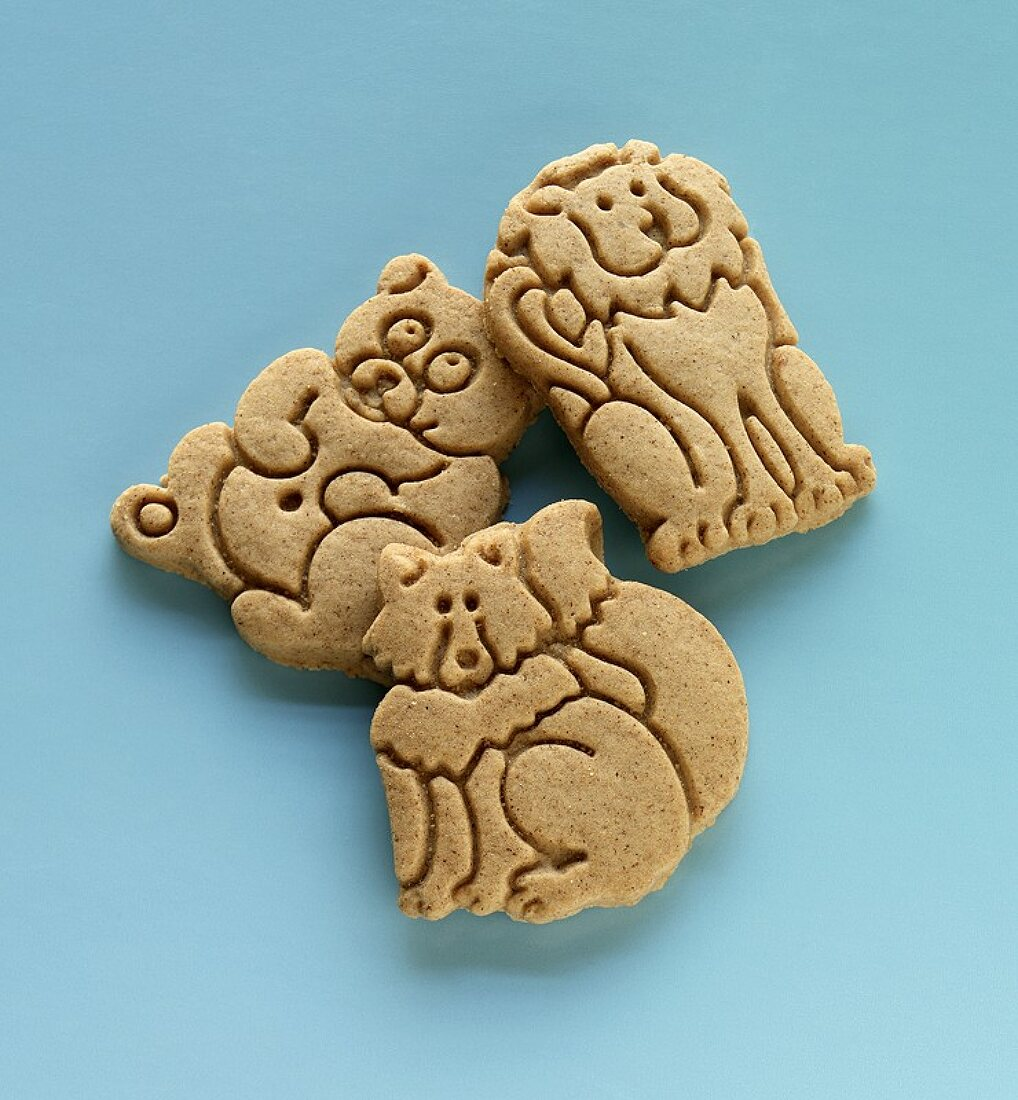 Three Animal Cookies on a Blue  Background