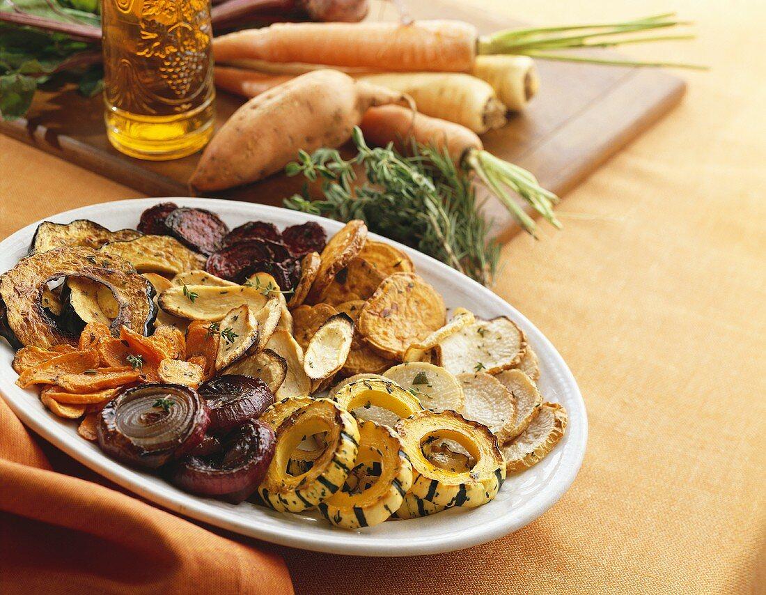Platter of Roasted Sliced Vegetables, Fresh Vegetables on Cutting Board
