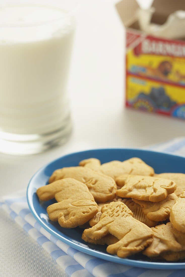 Animal Crackers on a Plate; Glass of Milk; Cracker Box