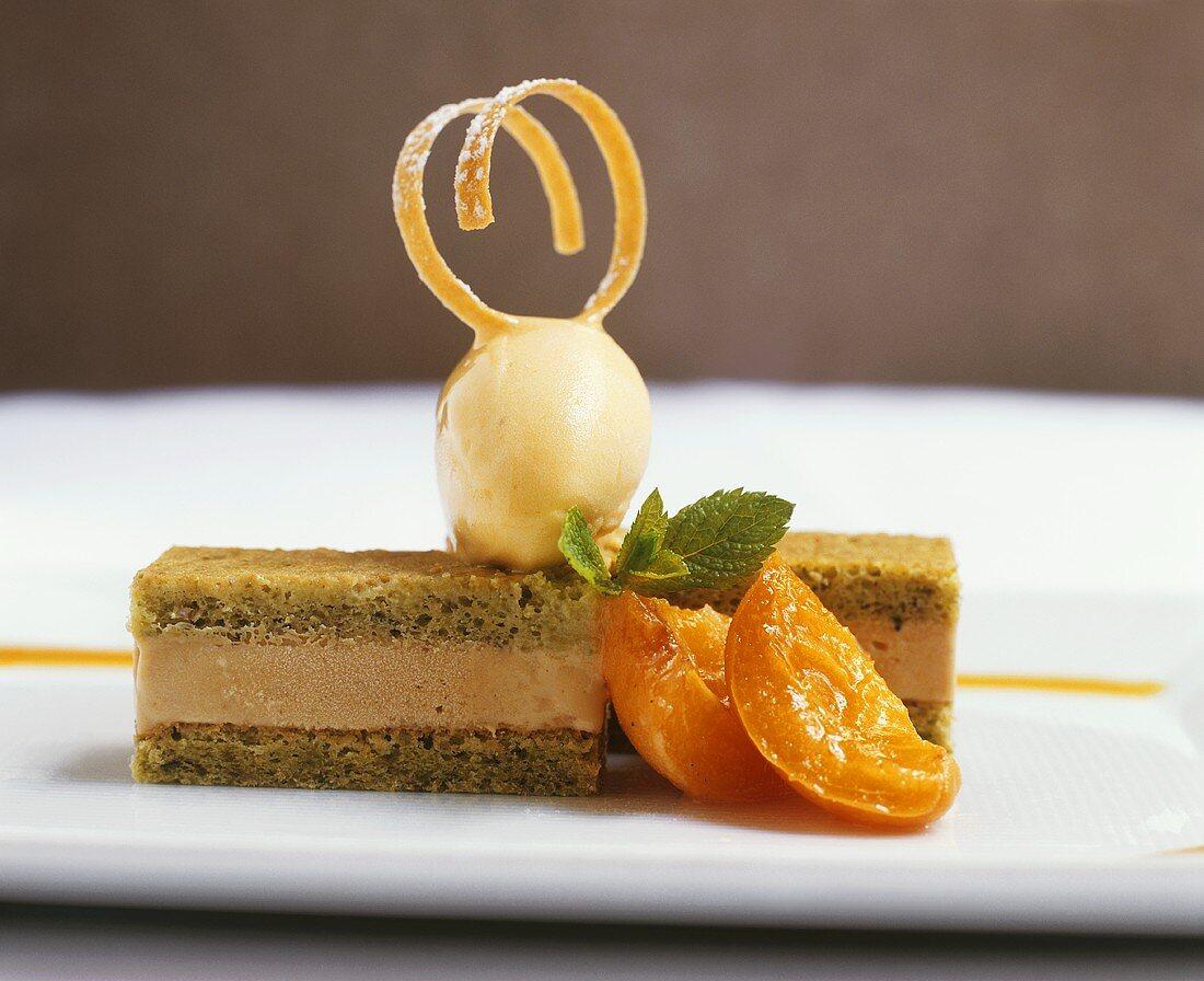 Apricot Cake with Ice Cream