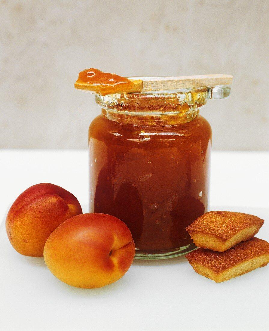 Jar of Apricot Jam with Mini Pound Cakes