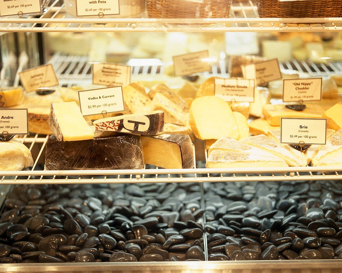 Cheese Display Case in a Market