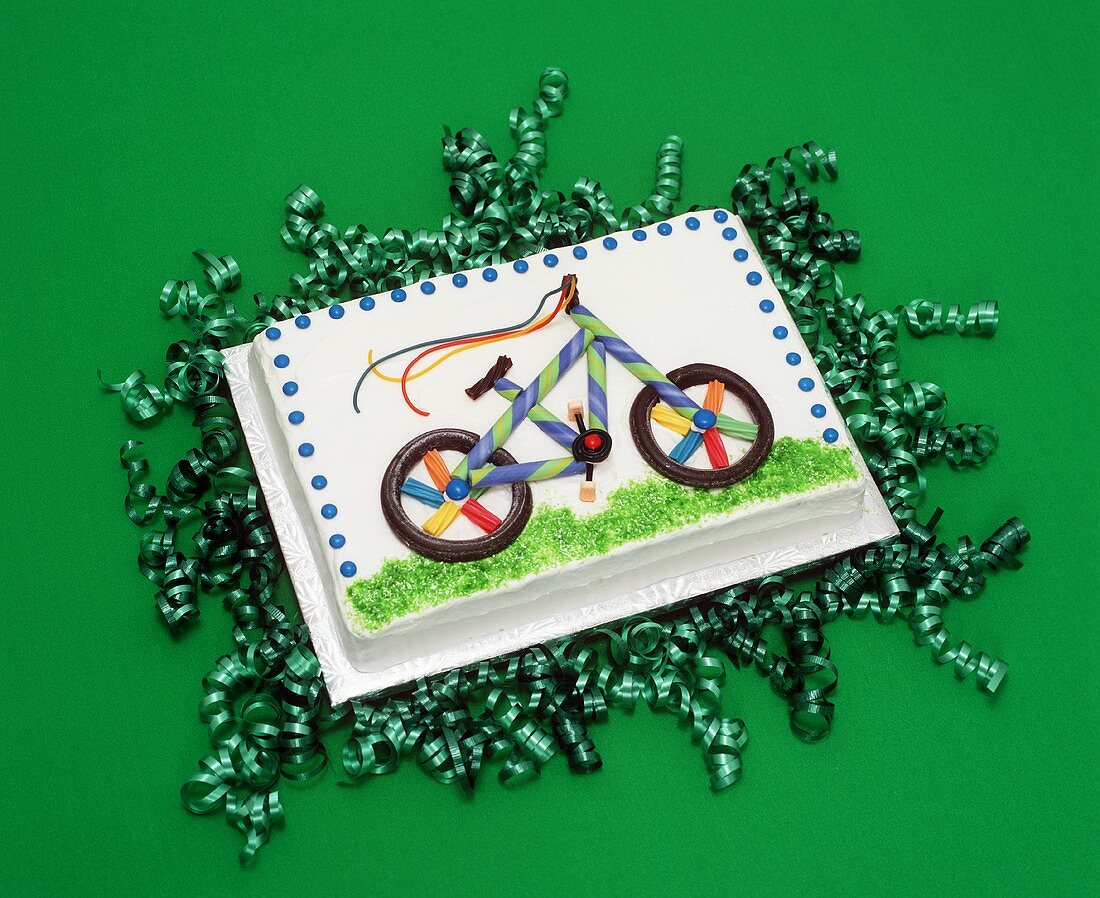 Bicycle Sheet Cake on Green Party Ribbons; Green Background
