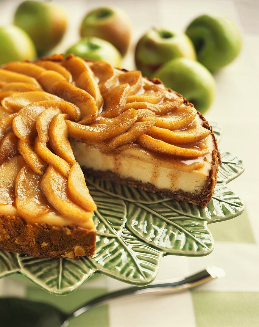 An Apple Almond Cheesecake, Slice Removed