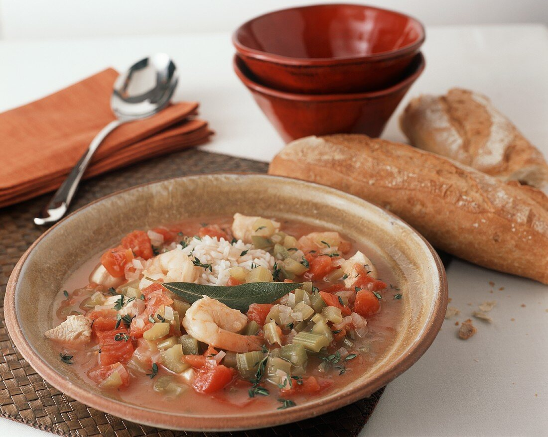 Bowl of Chicken and Shrimp Gumbo; Bread