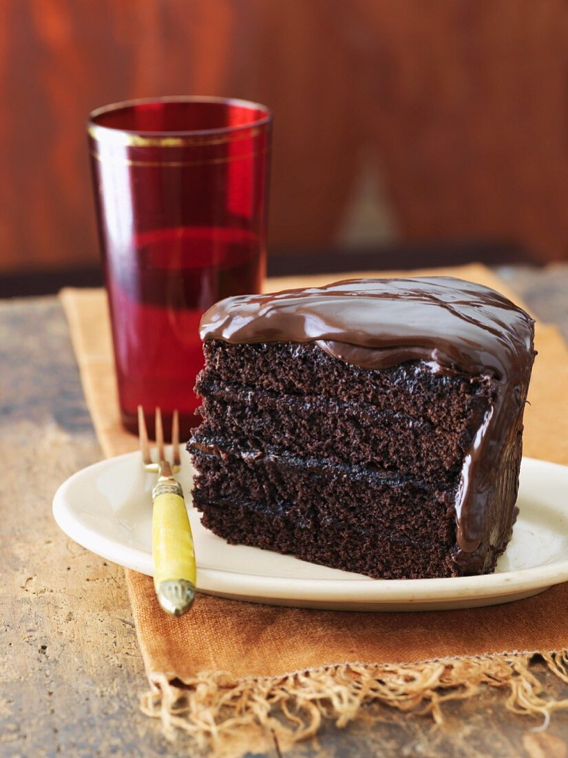 Slice of Triple Chocolate Cake