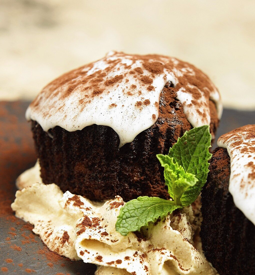 Chocolate Guinness Cupcake with Frosting and Cocoa Powder