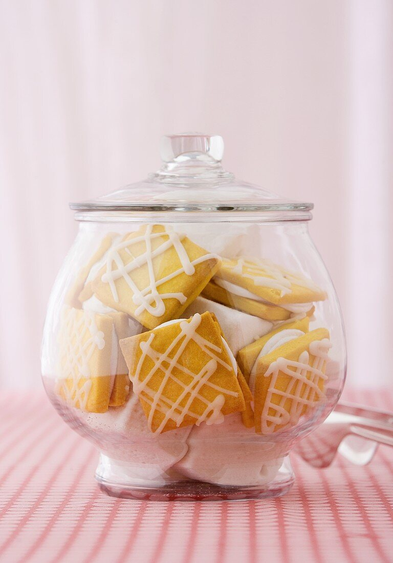 Cookie Jar Full of Marshamllow Filled Cookies with Icing Drizzles