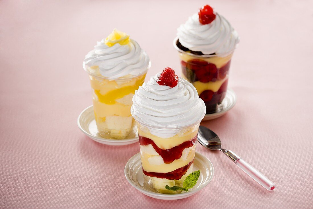 Three Parfaits, Lemon, Cherry and Raspberry
