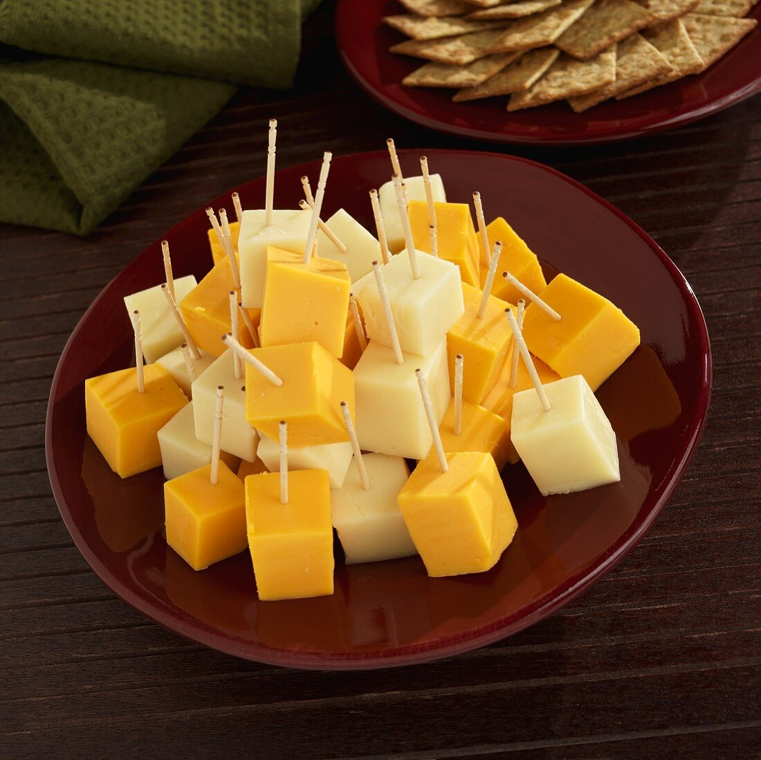 Cubed Yellow American Cheese and White Cheddar on Toothpicks
