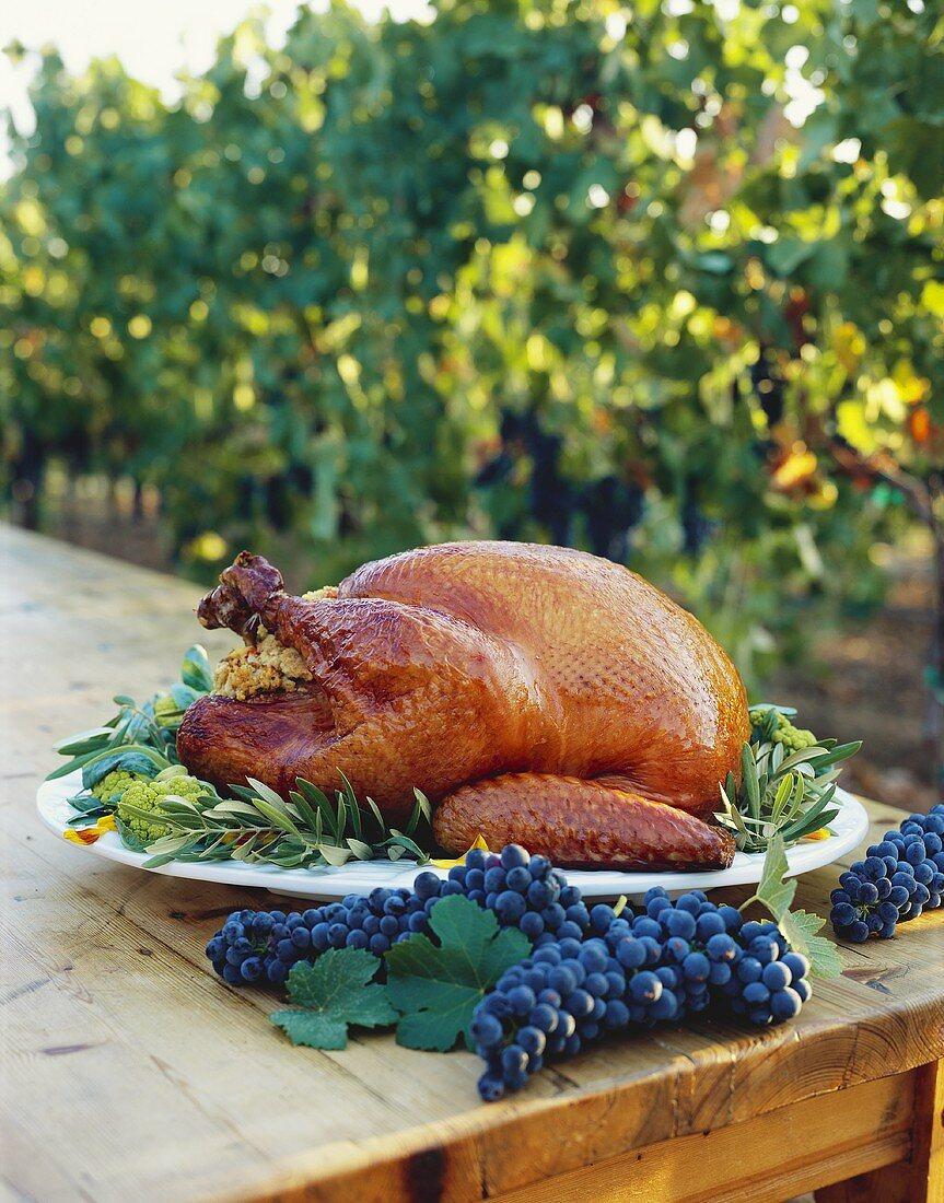 Whole Roast Turkey on Table in Vineyard