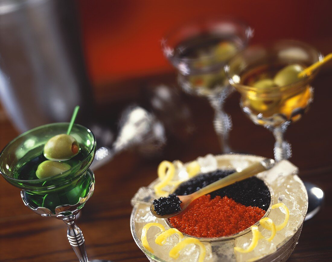 Chilled Red and Black Caviar with Martinis
