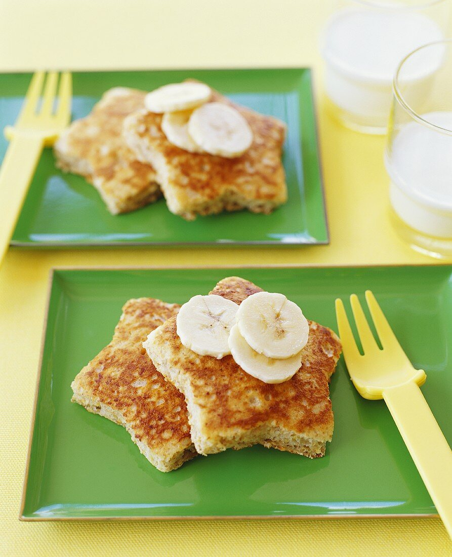 Childs Breakfast; French Toast Stars with Banana Slices